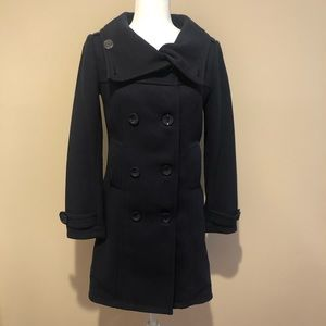 H&M Navy Blue Double Breasted Peacoat